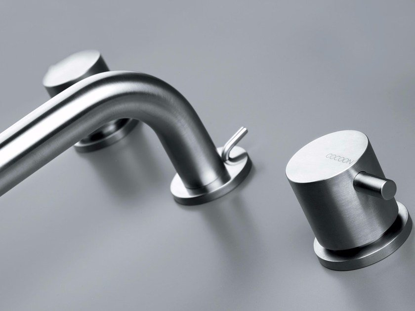 3 hole washbasin mixer with aerator COCOON MONO 08 by COCOON
