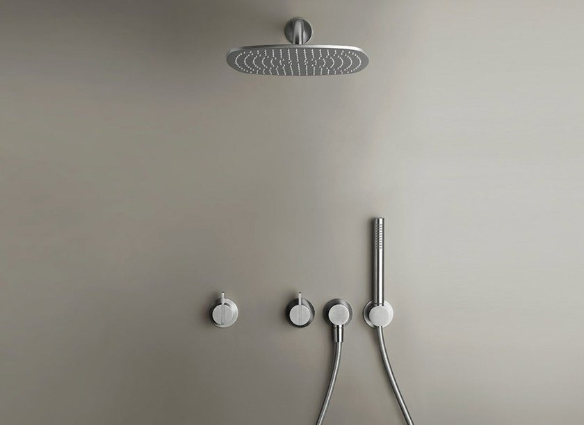 Built-in stainless steel shower panel with hand shower COCOON PB SET22 - COCOON