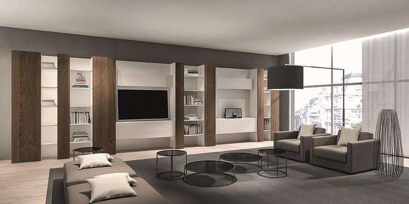 Parete attrezzata componibile laccata code emmebi for Piccoli mobili per soggiorno