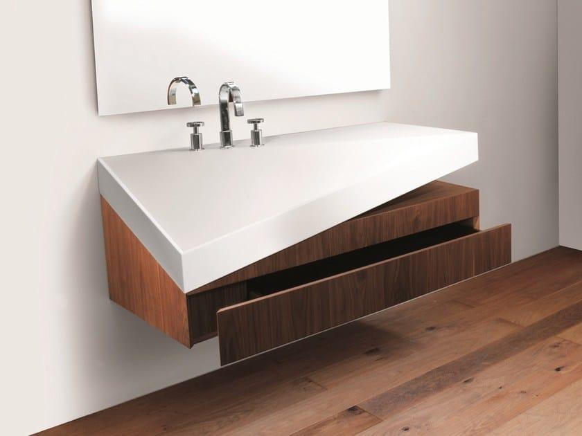 Rectangular wall-mounted washbasin with integrated countertop COLLAPSE | Washbasin - Rapsel