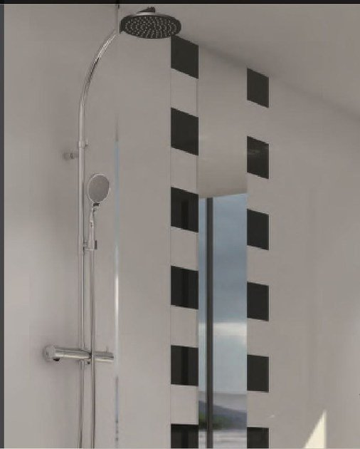 Miscelatore per doccia cromo in acciaio in stile moderno con doccetta con finitura lucida COLLECTION O | Miscelatore per doccia - INTERCONTACT
