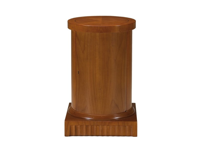 Round cherry wood bedside table COLONNA by Morelato