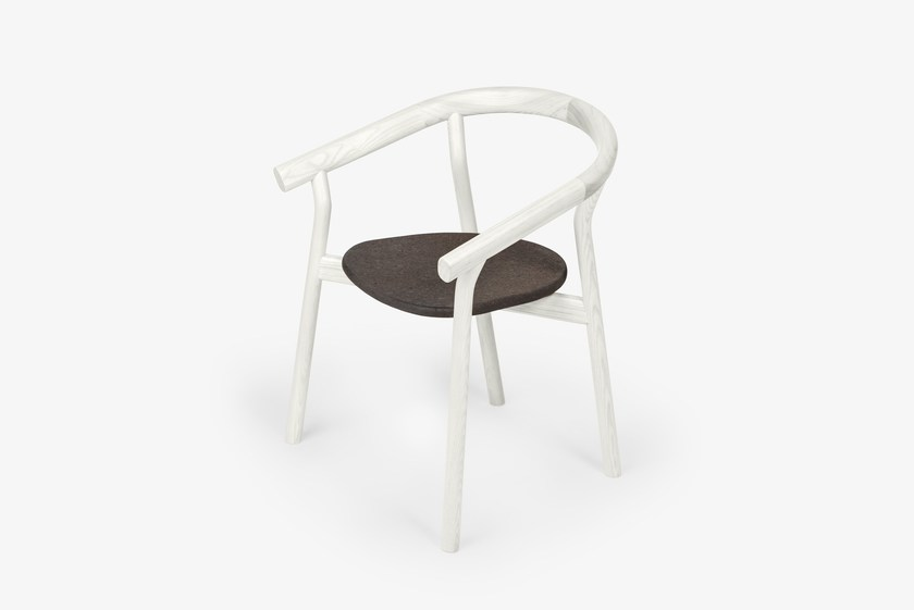 Lacquered solid wood chair with armrests COLORED DORA by DAM