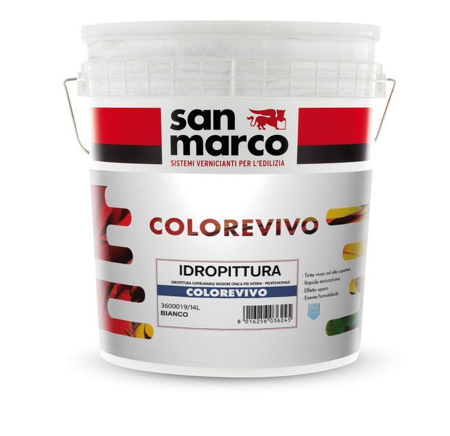 HIGHLY-WASHABLE WATER-BASED WALL PAINTS COLOREVIVO by San Marco