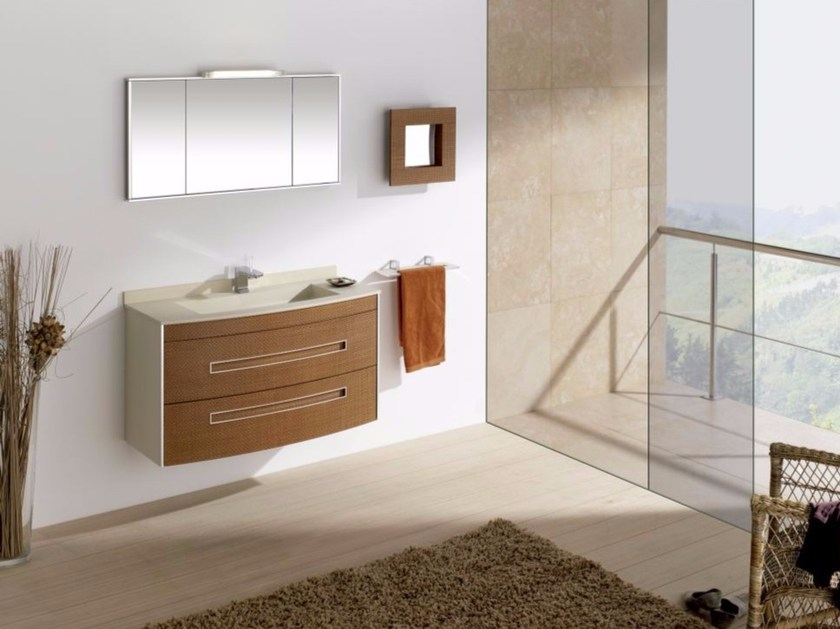 Contemporary style single wood-product vanity unit with drawers with mirror COLORS LEATHER 03 - Fiora