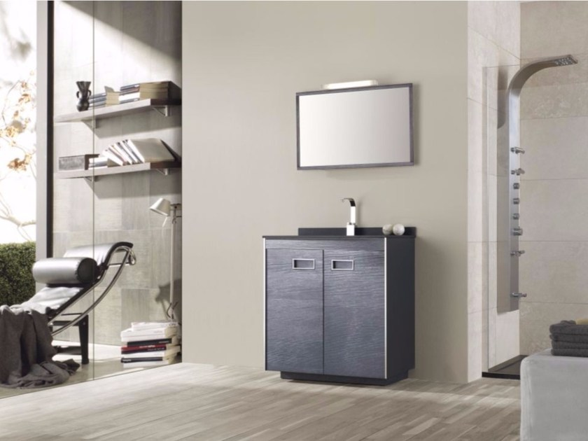 MDF vanity unit with doors with mirror COLORS PINEWOOD 06 - Fiora