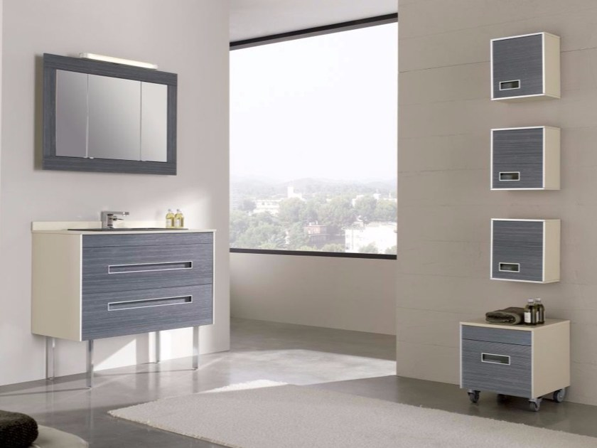 Contemporary style single wood-product vanity unit with drawers with mirror COLORS PINEWOOD 08 - Fiora