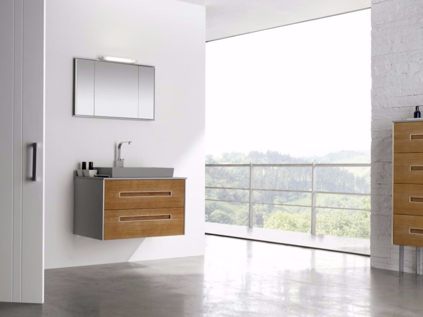 Wall-mounted MDF vanity unit with drawers with mirror COLORS PINEWOOD 09 - Fiora