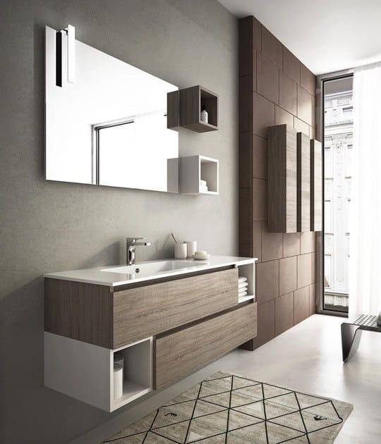 Mobile lavabo sospeso con cassetti componibile 5 legnobagno for Foto arredo bagno moderno
