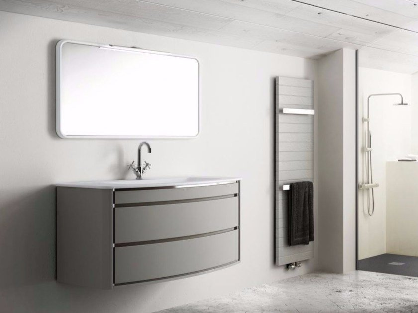 Single wall-mounted polyurethane vanity unit with drawers COMPOSITION 01 - Fiora