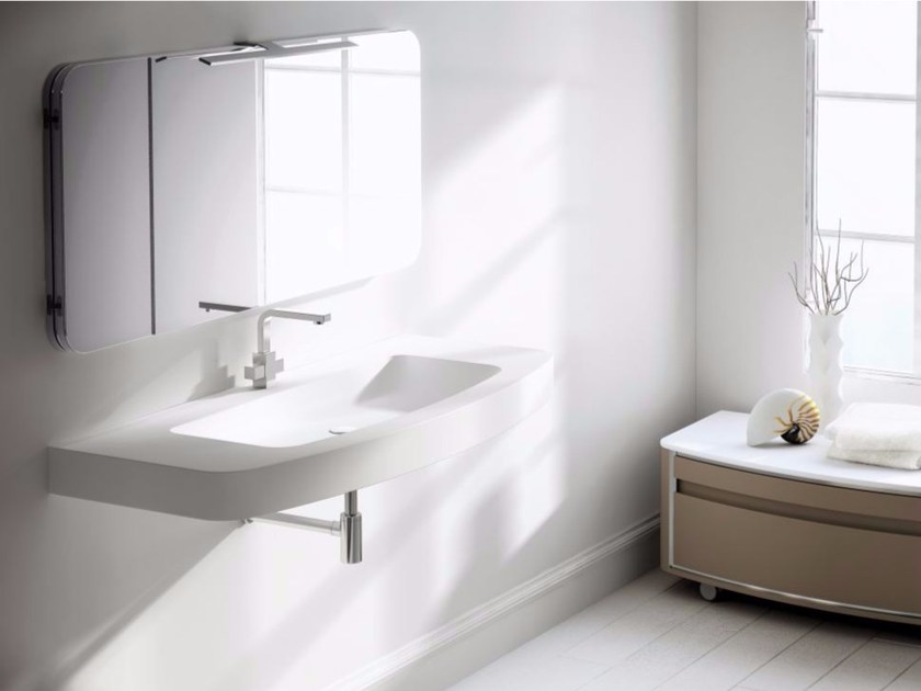 Single wall-mounted vanity unit with mirror COMPOSITION 02 - Fiora