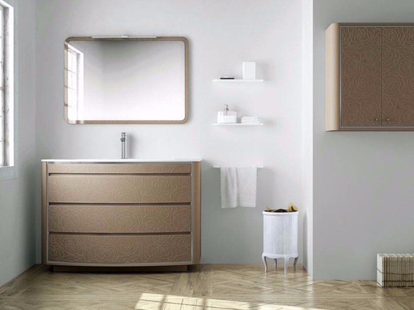 Polyurethane vanity unit with drawers with mirror COMPOSITION 04 by Fiora