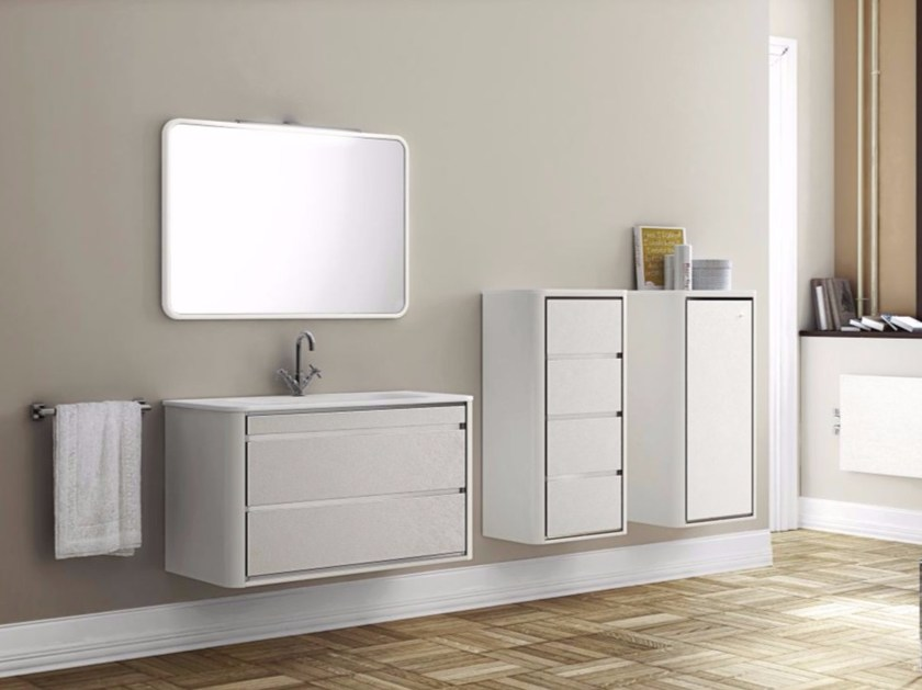 Wall-mounted polyurethane vanity unit with drawers with mirror COMPOSITION 07 - Fiora