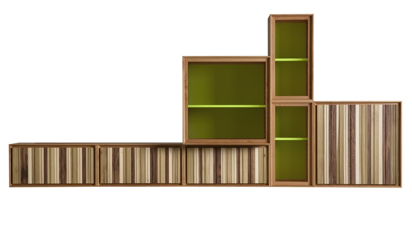 Modular wooden storage wall MODULO ZERO | Storage wall - Morelato