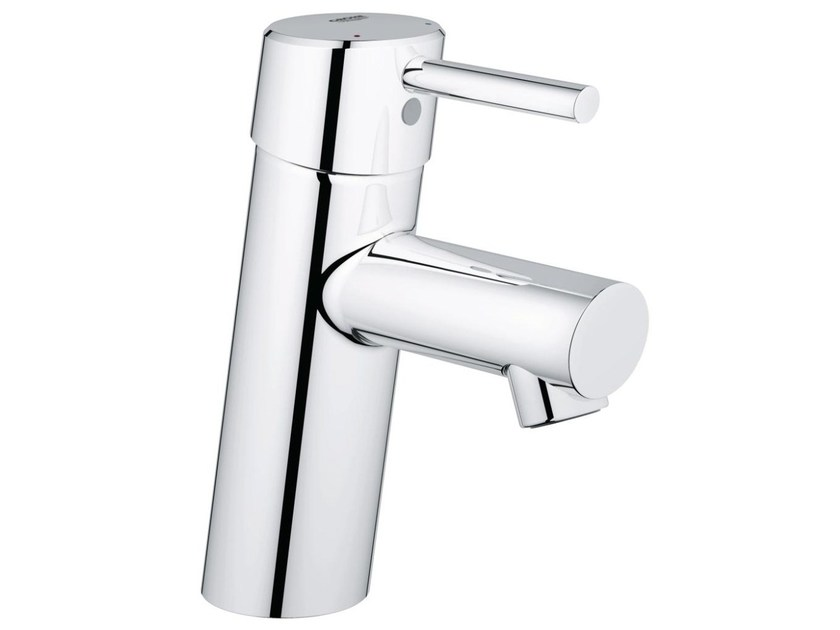 Countertop single handle washbasin mixer with temperature limiter CONCETTO SIZE S | Washbasin mixer without waste by Grohe