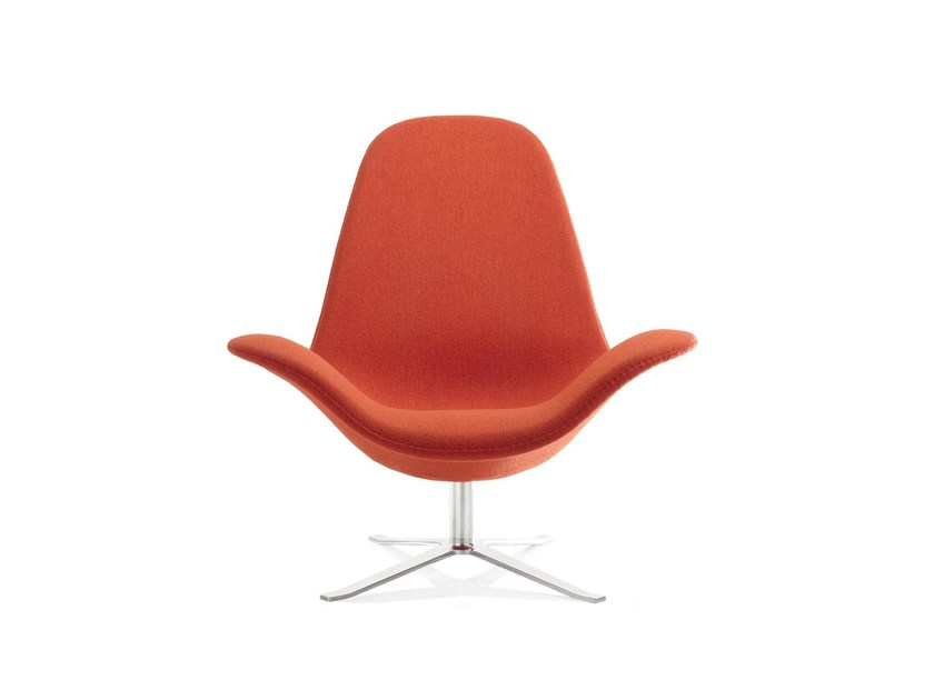 Fabric armchair with 4-spoke base with armrests CONCORD HIGH | Fabric armchair by Stouby