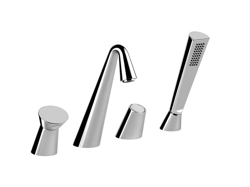 4 hole bathtub set with hand shower CONO BATH 45037 - Gessi