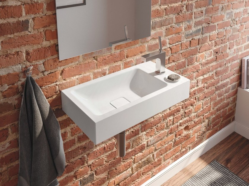 Rectangular wall-mounted ceramic handrinse basin CONO | Handrinse basin by Kaldewei Italia