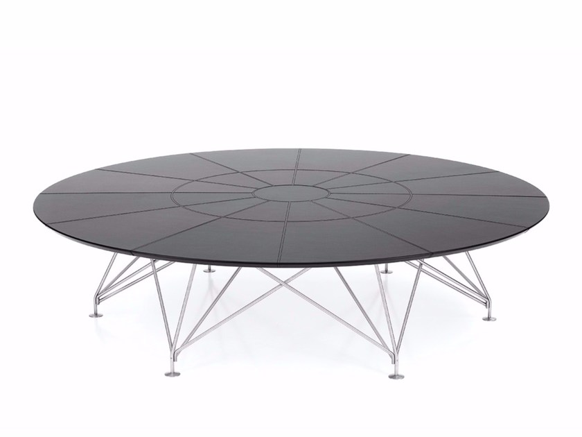 Round tanned leather meeting table CONSILIUM | Round meeting table by Polflex