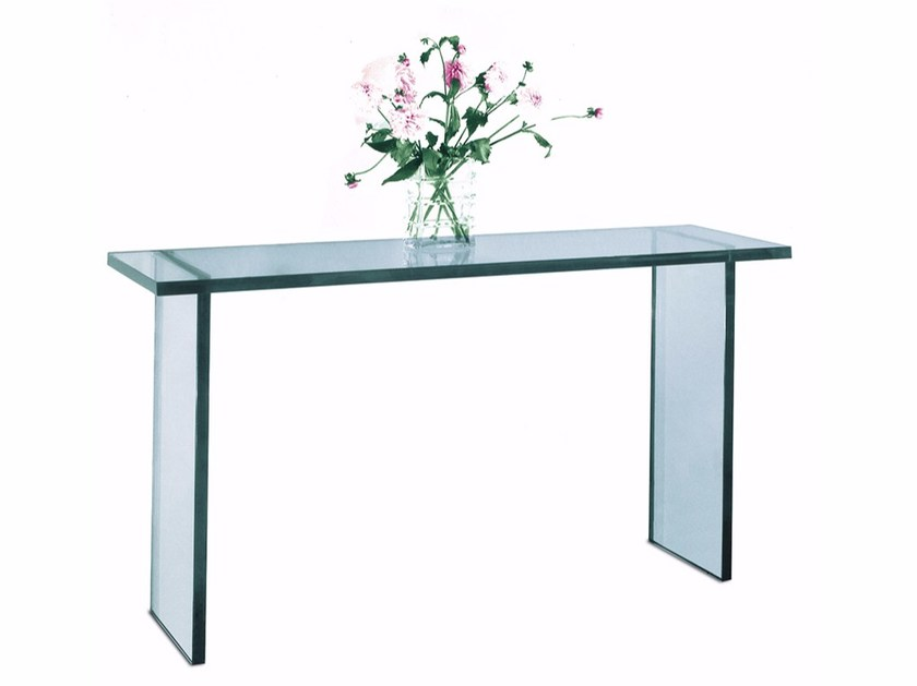 Glass console table CONSOLE 31 V - Jean Perzel