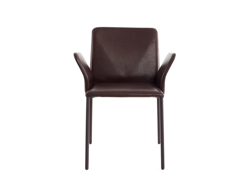 Upholstered leather chair with armrests CORBO   Chair with armrests by more