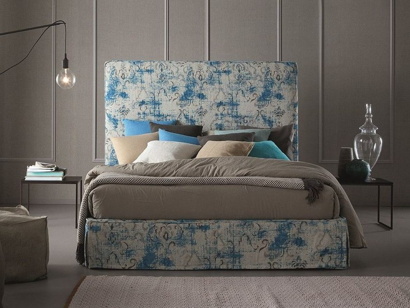 Contemporary style fabric storage bed with high headboard with upholstered headboard CORNELIA by Chaarme