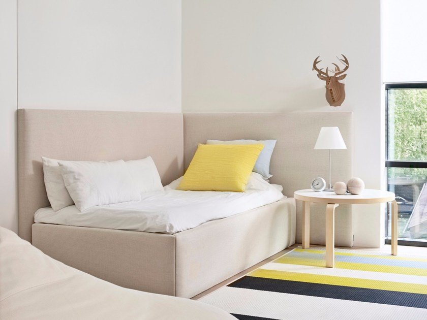 Upholstered fabric single bed CORNER BED - Woodnotes