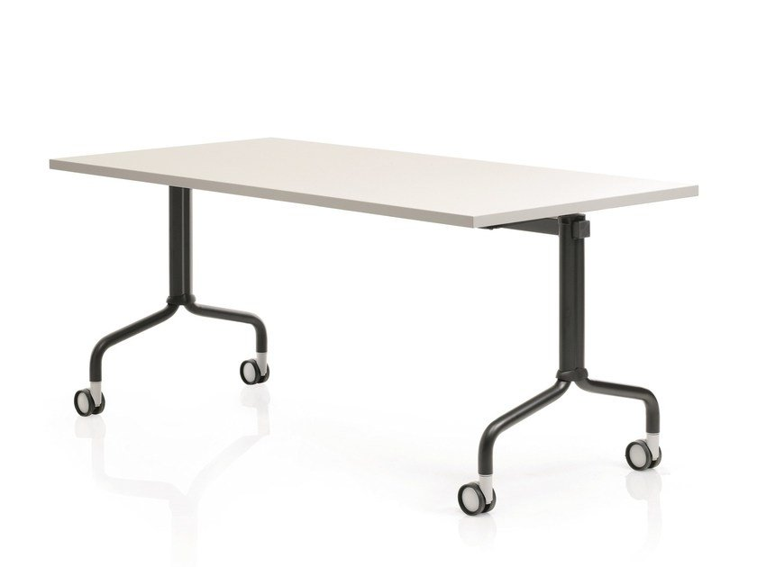 Folding rectangular meeting table with casters CORNER | Folding meeting table - Emmegi