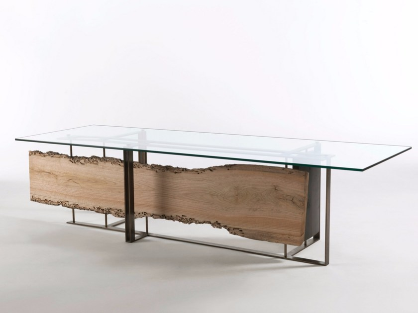 Rectangular wood and glass table CORNICE by Riva 1920
