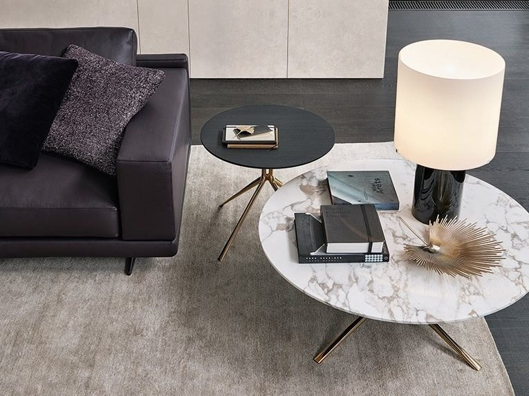 Low round marble coffee table MONDRIAN | Round coffee table by poliform