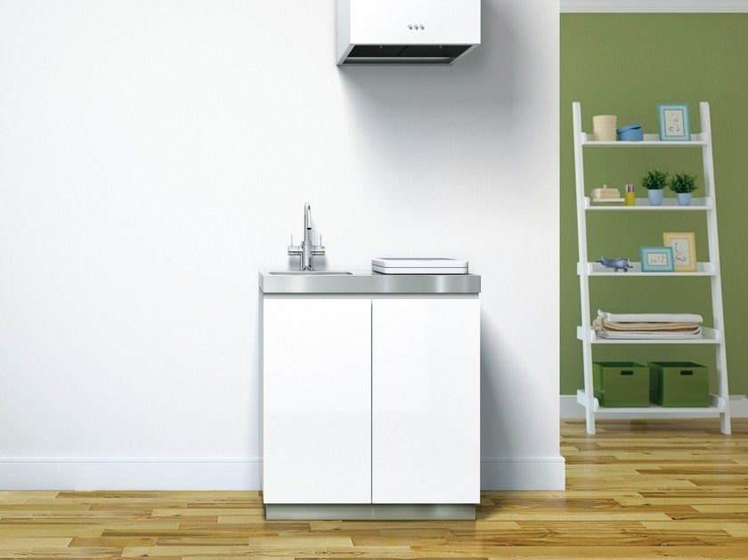 Metal kitchen unit with single sink COTONE 900 - Sanwa Company