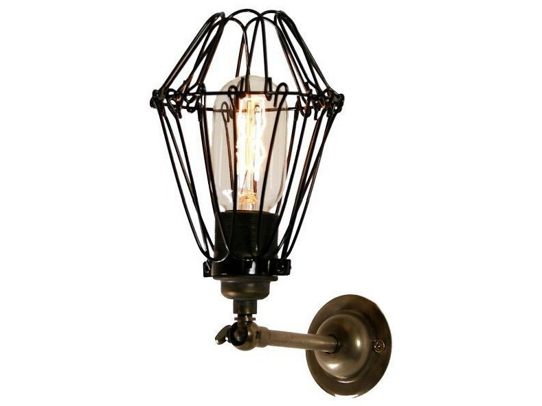 Direct light handmade wall lamp COTONOU INDUSTRIAL CAGE WALL LIGHT - Mullan Lighting