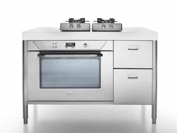 Cucina a libera installazione in acciaio inox cottura 130 - Piano cucina acciaio inox ...