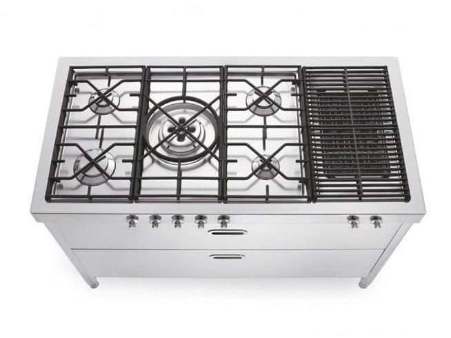 Cucina piano cottura in acciaio inox cottura 130 piano - Piano cucina acciaio inox ...