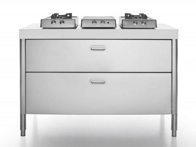 Cucina piano cottura in acciaio inox cottura 130 piano for Piano cottura cucina