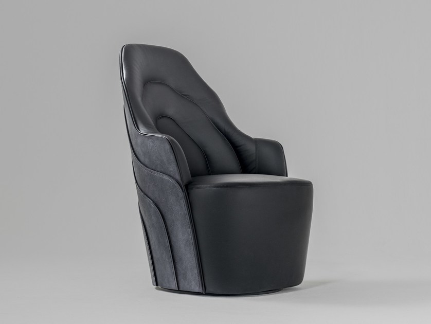 Upholstered leather armchair COUTURE by BD Barcelona Design