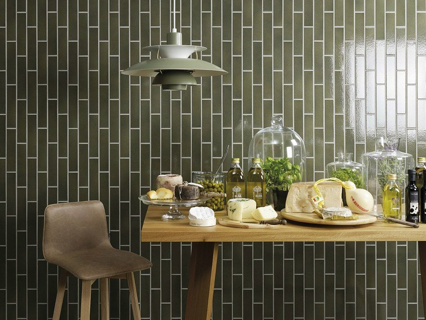 Craft strip tile | olive-green flamed