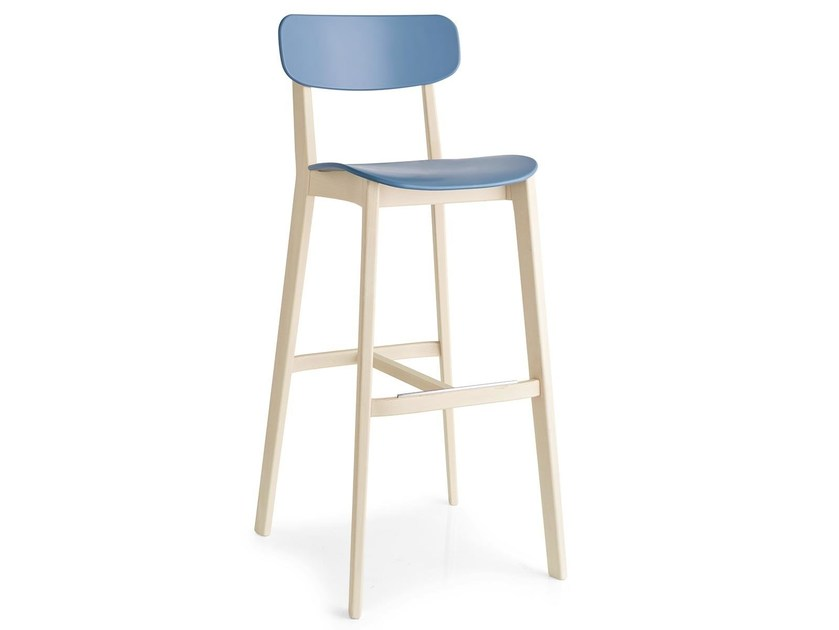 Polypropylene counter stool with footrest CREAM | Counter stool - Calligaris