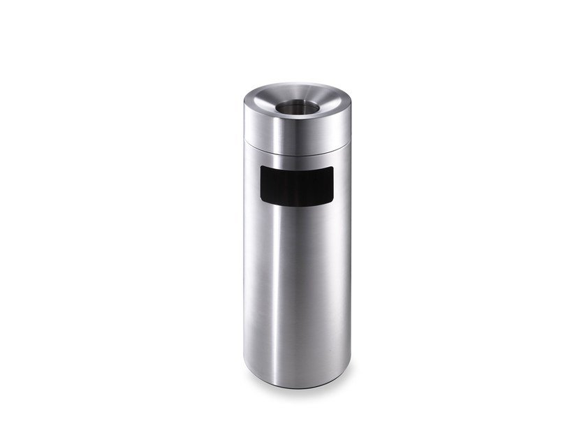 Stainless steel waste bin with ashtray CREW 28 by rosconi