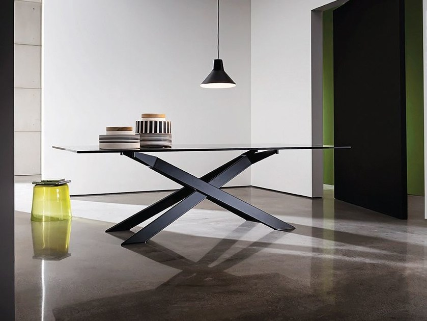 Rectangular glass table CROSS - SOVET ITALIA