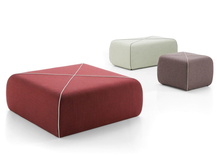 Upholstered garden pouf CROSSED - B-LINE