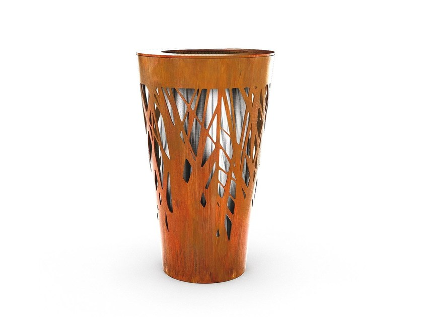 Galvanized steel waste bin CROSSED | Waste bin - LAB23