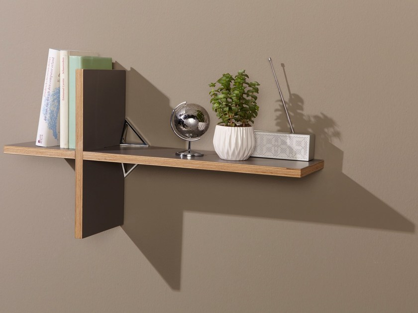Wooden wall shelf CROSSING - Müller Möbelwerkstätten