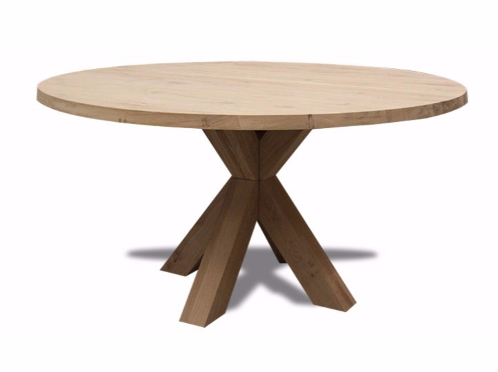Round English oak table CROSSTABLE CENTRAL by ZinX