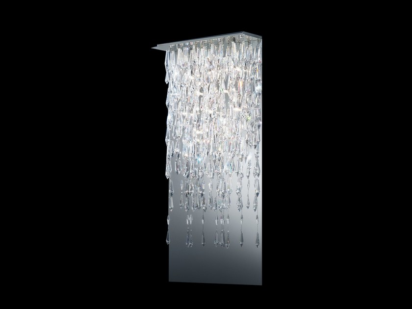 Halogen stainless steel wall lamp CRYSTALLINE ICICLES | Wall light by Swarovski