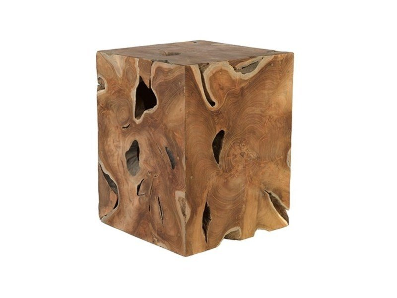 Wooden pouf CUBE NATURAL - Pols Potten