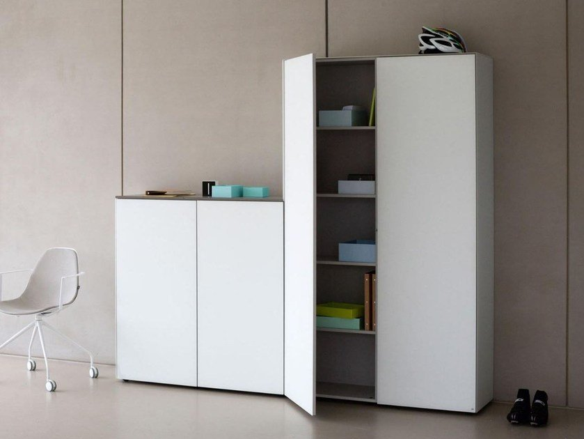 Tall Xeramica office storage unit with hinged doors CUBE | Office storage unit - Joli