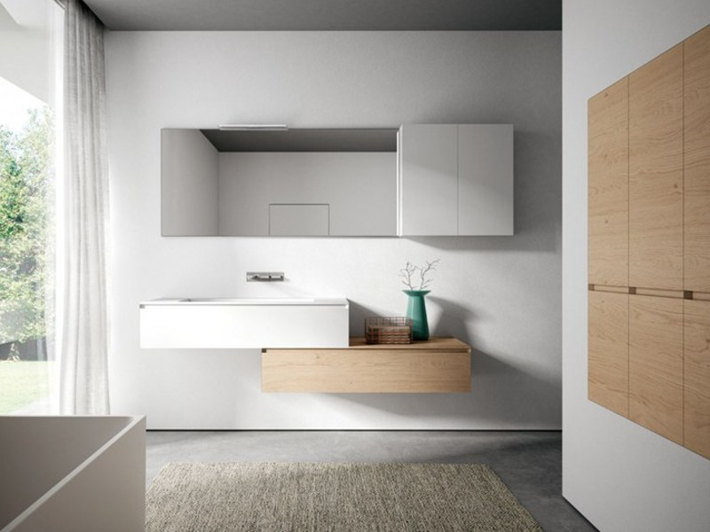 Modular wooden bathroom cabinet with mirror CUBIK | Bathroom cabinet with mirror by Idea