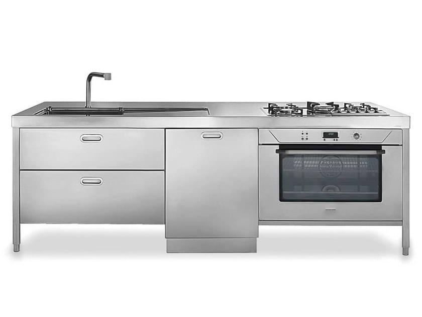 Cucina componibile lineare in acciaio in stile moderno con - Piano cucina acciaio inox ...
