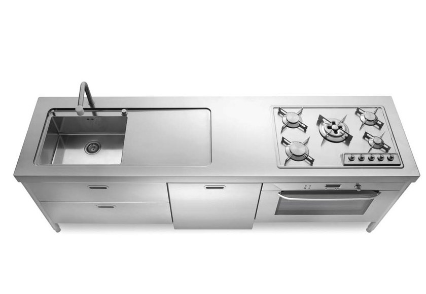 Cucina componibile lineare in acciaio in stile moderno con maniglie integrate cucine e - Cucine in acciaio inox ...